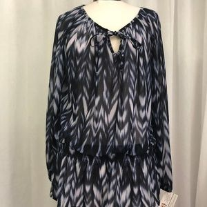 INC Womens' Blouse Blue and White Print Size XL